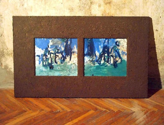 chemical marriage / acrest / oil on canvas / 50x84, frame made of earth, 2004